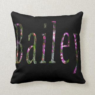 Floral Bailey Name Logo, Throw Pillow