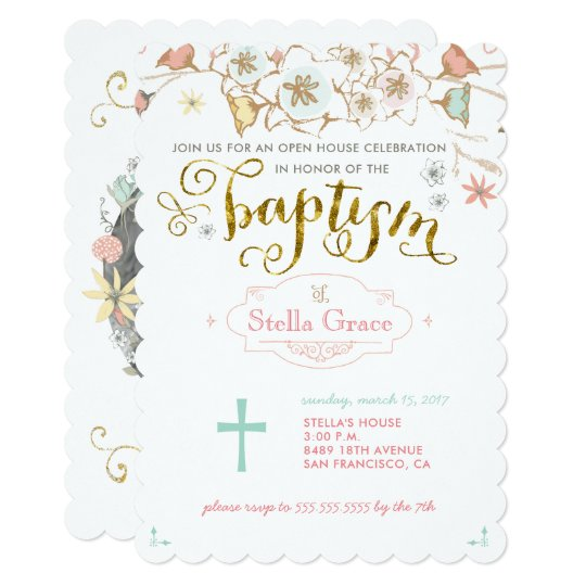 Floral Baptism Invitation for a Girl with Photo