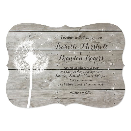 Floral Barn Board Wedding Invitation