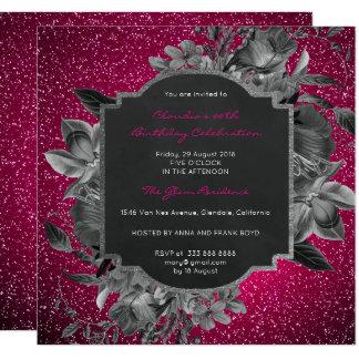 Floral Baroque Birthday Silver Black Vivid Pink Card