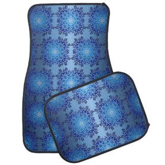 floral baroque blue retro pattern car mat