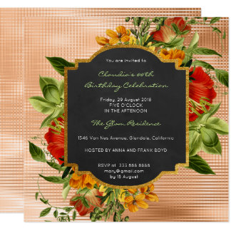 Floral Baroque Gold Frame Mint Peach Luxury Metall Card