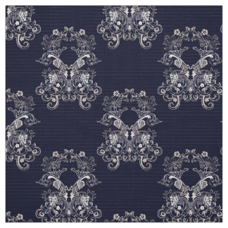 Floral baroque style navy pattern fabric