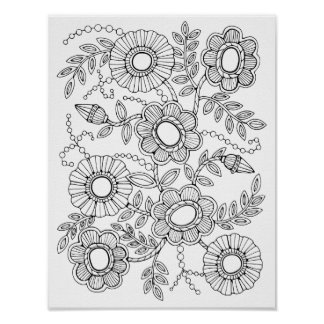 Floral Beaded Spray Cardstock Adult Coloring Page Poster