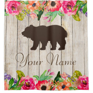 Floral Bear Wood Personalized Shower Curtain