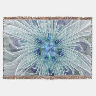 Floral Beauty Abstract Modern Blue Pastel Flower Throw Blanket
