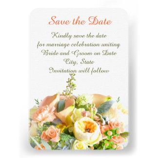 Floral Beauty Bouquet Coral Save the date Personalized Announcements