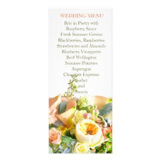 Floral Beauty Bouquet Coral Wedding Menu Invite