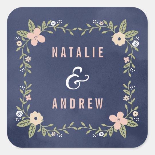 Floral Beauty Editable Colour Wedding Favour Square Sticker