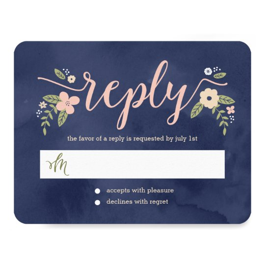Floral Beauty Editable Colour Wedding Response Card