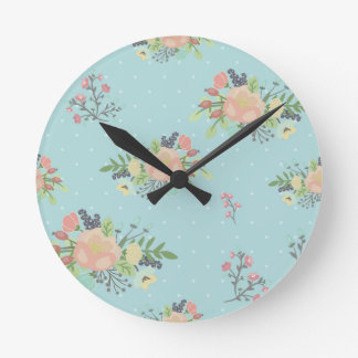 Floral Beauty seamless pattern Round Clock