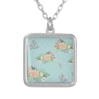 Floral Beauty seamless pattern Silver Plated Necklace