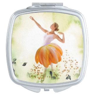 Floral beauty travel mirror