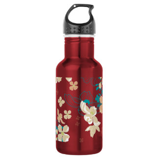 Floral – Beige and Teal 532 Ml Water Bottle