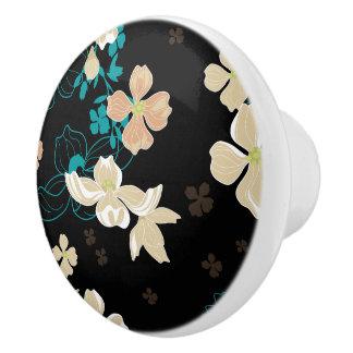 Floral – Beige and Teal Ceramic Knob