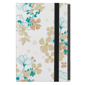 Floral Beige and Teal Cover For iPad Mini