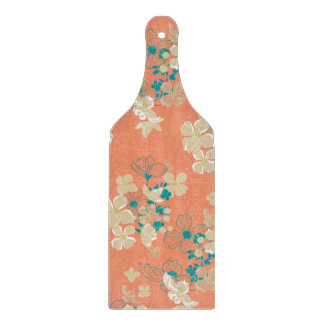 Floral – Beige and Teal Cutting Board