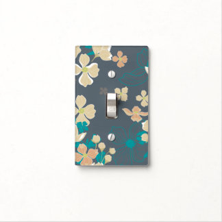 Floral – Beige and Teal Light Switch Cover