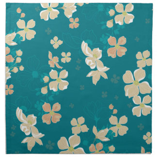 Floral – Beige and Teal Napkin