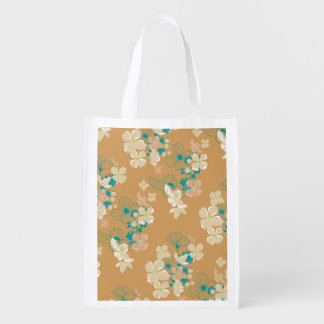 Floral Beige and Teal Reusable Grocery Bag
