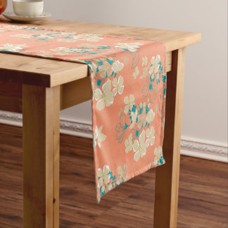 Floral – Beige and Teal Short Table Runner
