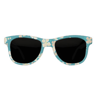 Floral Beige and Teal Sunglasses
