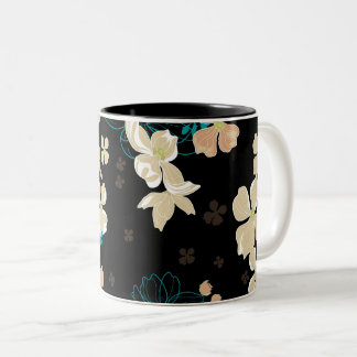 Floral – Beige and Teal Two-Tone Coffee Mug