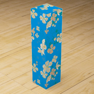 Floral – Beige and Teal Wine Box