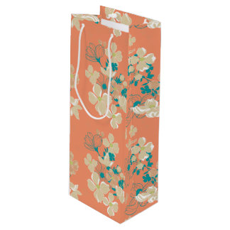 Floral – Beige and Teal Wine Gift Bag