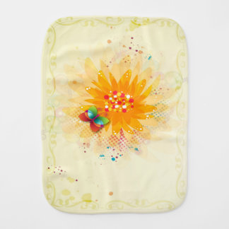 Floral Beige Butterfly Burp Cloth