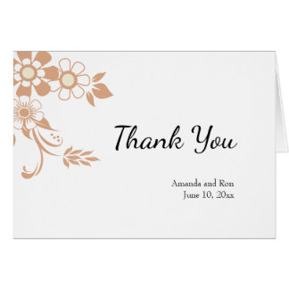 Floral Beige Thank You Wedding Card