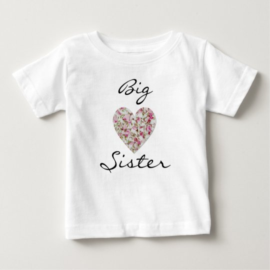 Floral Big Sister Baby Fine Jersey T-Shirt