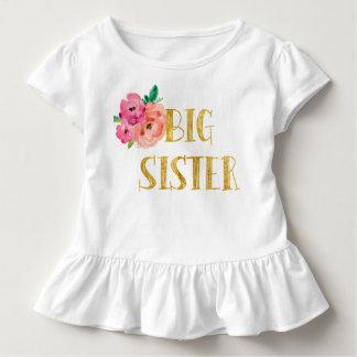 Floral Big Sister Shirt Gold Foil