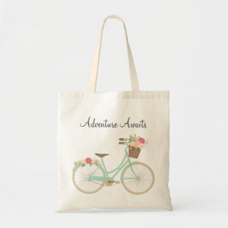 Floral Bike Tote Bag