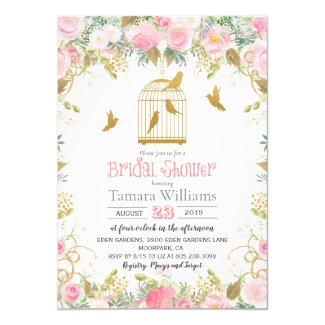 Floral Birdcage Bridal Shower Invitation