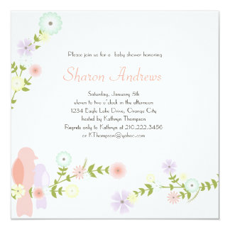Floral Birds Baby Shower Invitation