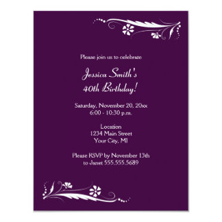 Floral Birthday Party Invitations in Dark Purple