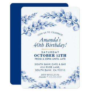 FLORAL BIRTHDAY PARTY INVITE pretty porcelain blue