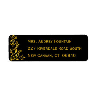 Floral Black And Gold Damask Flowers Return Address Label
