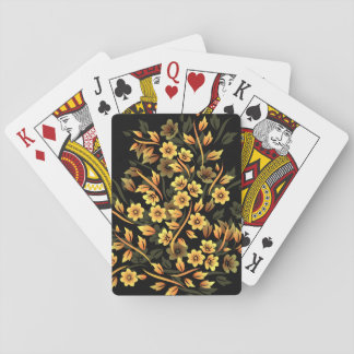 Floral Black And Gold Elegant Playing Cards