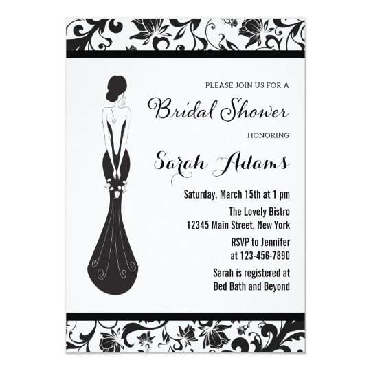 Floral Black and White Bridal Shower Invitation
