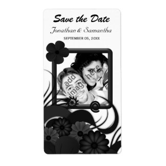 Floral Black and White Save The Date Wine Labels