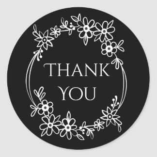 Floral Black And White Thank You Flower Wreath Round Sticker
