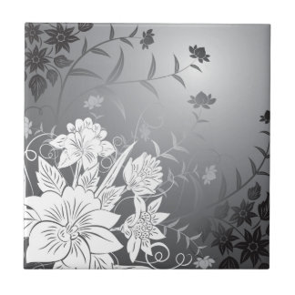 floral black and white tile