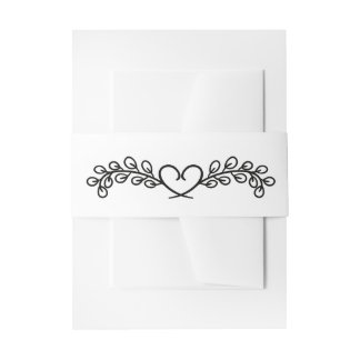 Floral Black And White Wedding  Laurel Heart Invitation Belly Band