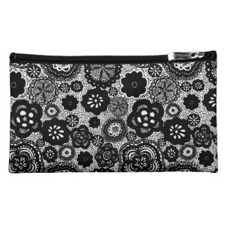 Floral Black and White Wristlet, Small Bag