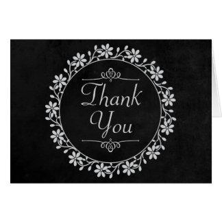 Floral Black Chalkboard Thank You Flowers Wreath Card