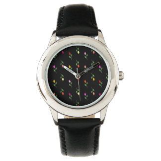 Floral Black Cool Girly Unique Chic Elegant Style Wrist Watches