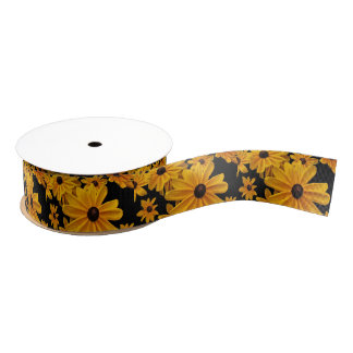 Floral Black Eyed Susan Flowers Satin Ribbon
