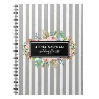 Floral black frame stripes notebook